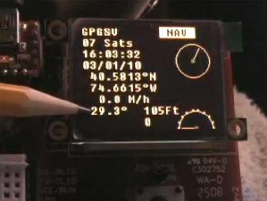 Receptor GPS con pantalla OLED y 4DGL
