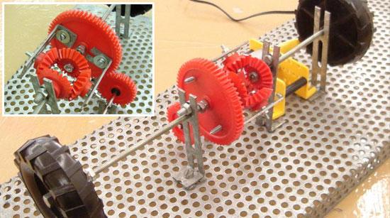 Mecanismo diferencial con piezas de meccano for Mecanismos de estores caseros