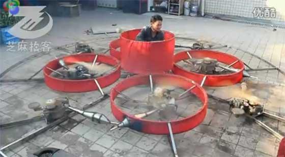 Octocopter de tamaño real con motores de gasolina