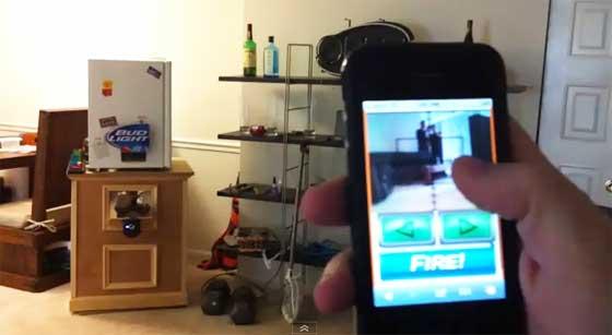 Lanzador de cervezas controlado con iPhone