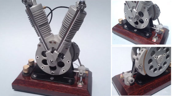 Motor V-Twin hecho con solenoides