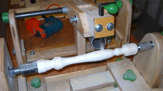 Torno para madera casero con copiador
