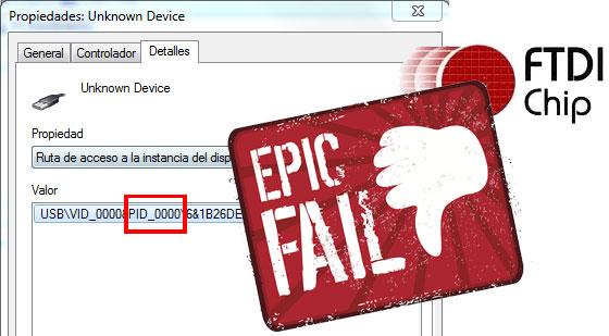 Clones de conversores USB FTDI y un EPIC FAIL