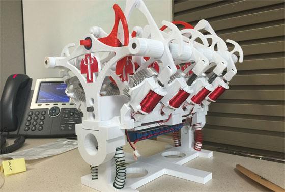 Motor con solenoides impreso en 3D