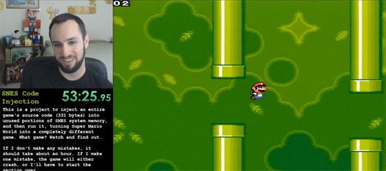 Inyección de codigo en SNES para jugar a Flappy Bird