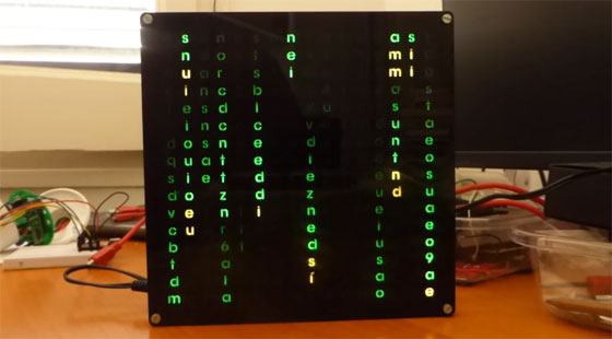 WordClock con efecto matrix