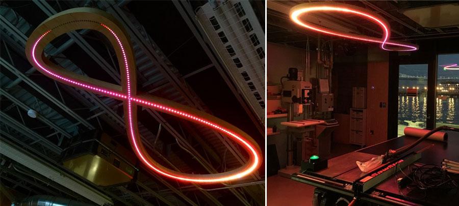 Lámpara LED de techo con forma del analema solar controlada por Arduino