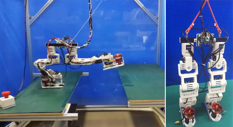 Robot bípedo con turbinas en los pies