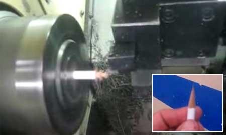 Afilando un lápiz con un torno CNC