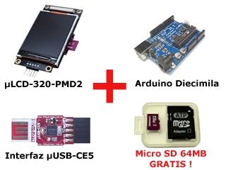 Paquete BricoGeek: Arduino + LCD + USB + MicroSD 64 GRATIS