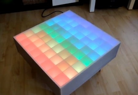 Mesa de salón con 64 Leds RGB y Arduino